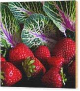 Strawberries And Kale. Wood Print