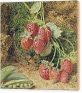 Strawberries And Peas Wood Print by John Sherrin