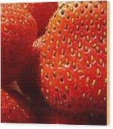 Strawberries Background Wood Print