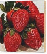 Strawberries Expressive Brushstrokes Wood Print