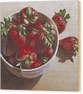 Strawberries In China Dish Wood Print by Timothy Jones