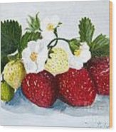 Strawberries With Blossoms Wood Print