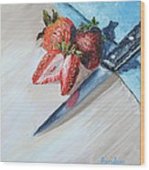 Strawberries With Knife Wood Print
