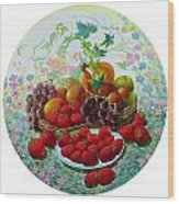 Strawberry And Grapes Wood Print