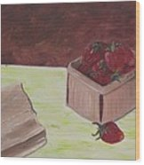 Strawberry Basket Wood Print