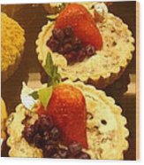 Strawberry Blueberry Tarts Wood Print
