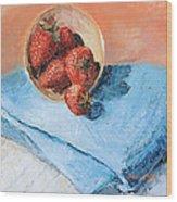 Strawberry Bowl Wood Print