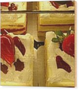 Strawberry Cakes Wood Print