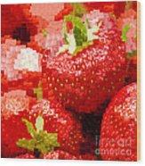 Strawberry Mosaic Wood Print