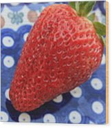 Strawberry On Blue Plate Wood Print