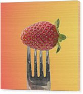 Strawberry On Fork Wood Print