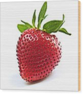 Strawberry On White Background Wood Print by Elena Elisseeva