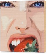 Strawberry - Pretty Faces Series Wood Print