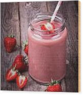 Strawberry Smoothie Wood Print