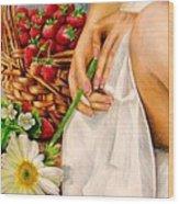 Strawberry Woman Wood Print