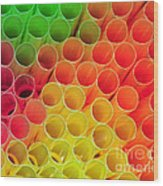Straws In Color Wood Print