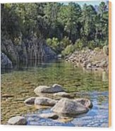Stream And Rocks At Bavella In Corsica Wood Print