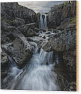 Stream Flows Over A Waterfall Wood Print