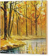Stream In The Forest - Palette Knife Oil Painting On Canvas By Leonid Afremov Wood Print