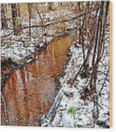 Stream In The Winter Forest Wood Print
