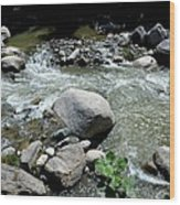 Stream Water Foams And Rushes Past Boulders Wood Print