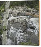 Stream With Waterfall In Vermont Wood Print