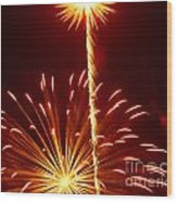 Streaming Fireworks Wood Print