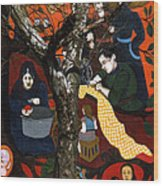 Street Art And Tree Wood Print