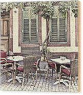 Street Cafe In Heidelberg Wood Print