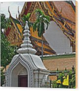 Street Entry To Wat Po In Bangkok-thailand Wood Print