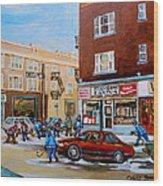 Street Hockey On Monkland Avenue Paintings Of Montreal City Scenes Wood Print