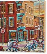 Street Hockey Practice Wilensky's Diner Montreal Winter Street Scenes Paintings Carole Spandau Wood Print
