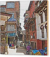 Street In Bhaktapur-city Of Devotees-nepal  Wood Print