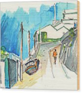 Street In Ericeira In Portugal Wood Print