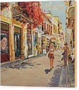 Street In Nafplio Greece Wood Print