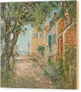 Street In Provincetown Wood Print by  Childe Hassam