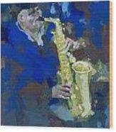 Street Jazzman Near Park  Wood Print