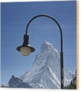 Street Lamp And Mountain Wood Print by Mats Silvan
