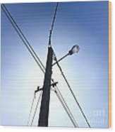 Street Lamp And Power Lines Wood Print