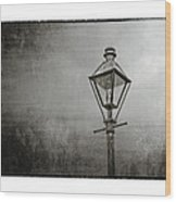 Street Lamp On The River In Black And White Wood Print