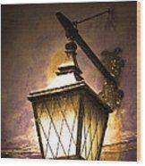 Street Lamp Shining Wood Print