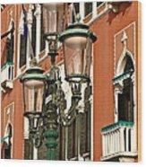 Street Lamps Of Venice Wood Print