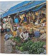 Street Market In Siem Reap Wood Print by Sami Sarkis