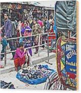 Street Market View From A Rickshaw In Kathmandu Durbar Square-nepal Wood Print