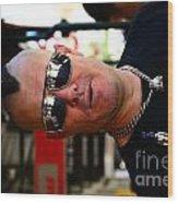 Street Performer Enjoying His Pipe Of Smoke 01 Wood Print by Bobby Mandal