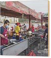Street Restaurant In Phnom Penh Cambodia Wood Print