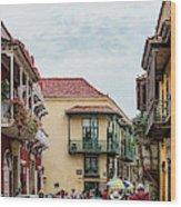 Street Scene In Old Town, Cartagena Wood Print