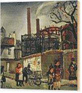 Street Scene In Paris, 1926 Wood Print