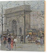 Street Scene In Paris Wood Print by Eugene Galien-Laloue