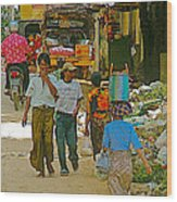 Street Scene In Tachilek-burma Wood Print